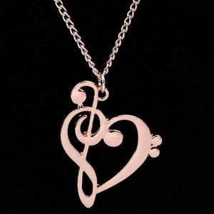Jewelry - COPY - Rose Gold Musical Note Heart Pendant Neckl…